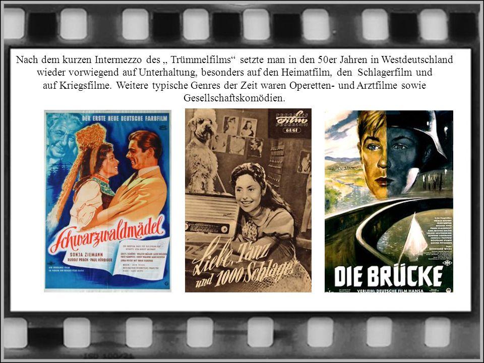 Nach dem kurzen Intermezzo des Trümmelfilms setzte man in den 50er Jahren in Westdeutschland wieder vorwiegend auf Unterhaltung, besonders auf den Heimatfilm, den Schlagerfilm und auf Kriegsfilme.