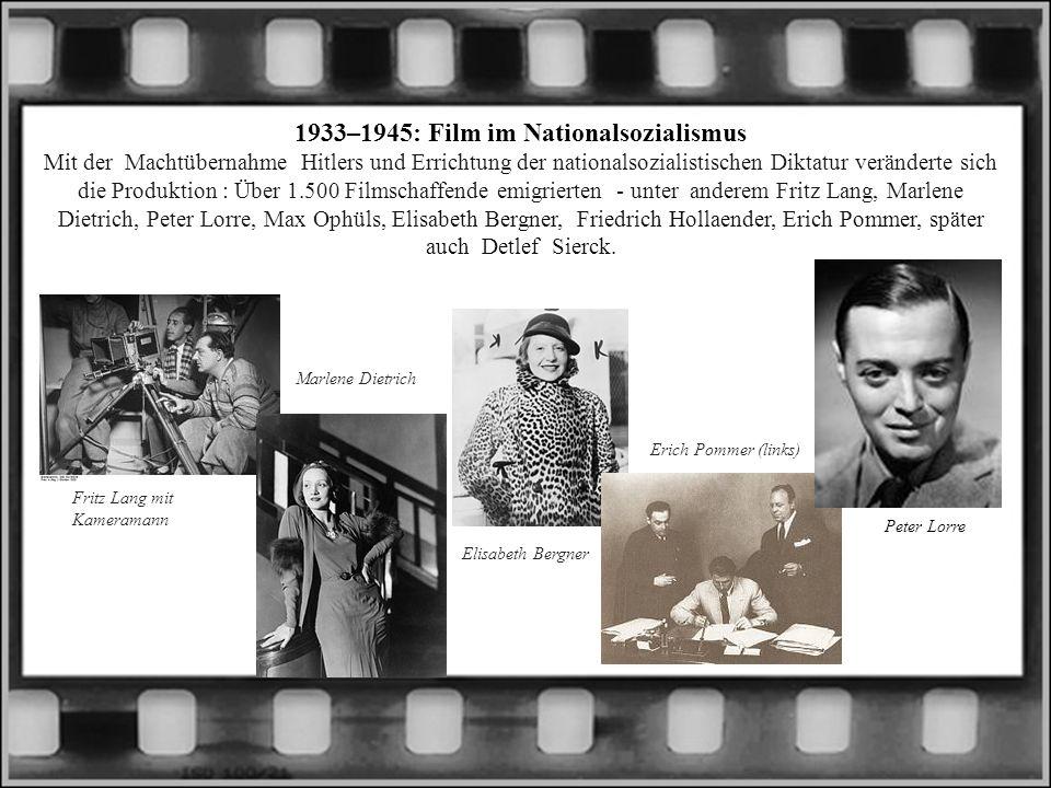 1933–1945: Film im Nationalsozialismus Mit der Machtübernahme Hitlers und Errichtung der nationalsozialistischen Diktatur veränderte sich die Produkti