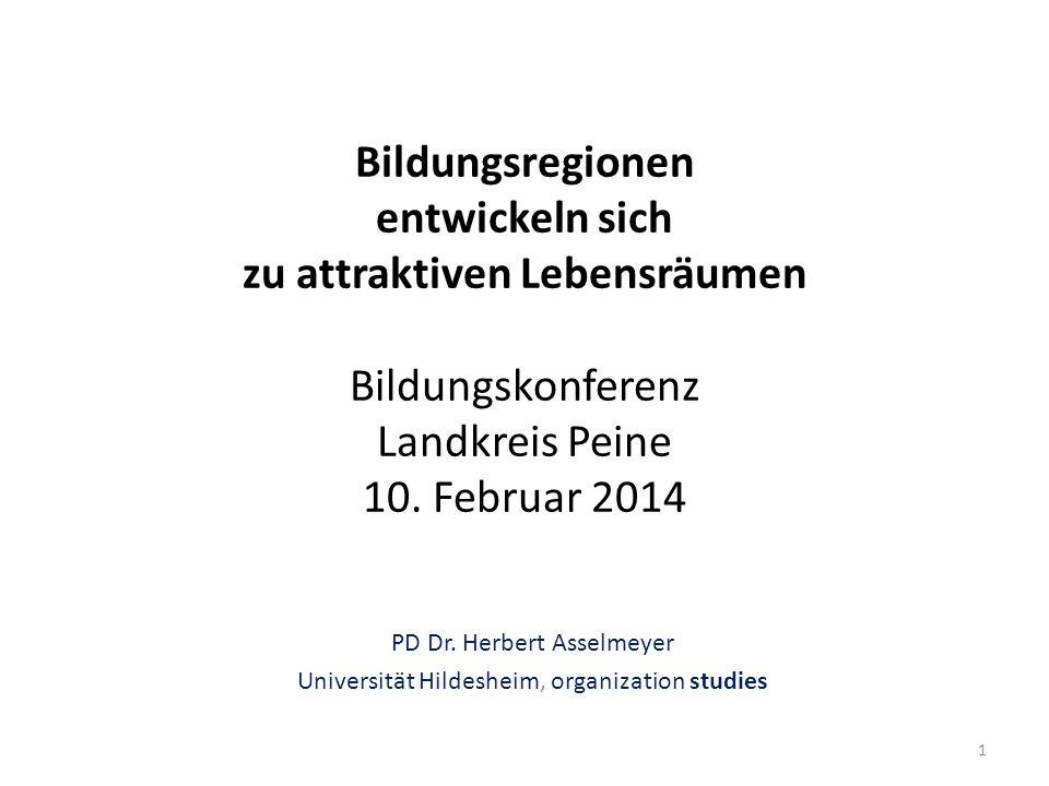 Bildungsregionen entwickeln sich zu attraktiven Lebensräumen Bildungskonferenz Landkreis Peine 10. Februar 2014 PD Dr. Herbert Asselmeyer Universität