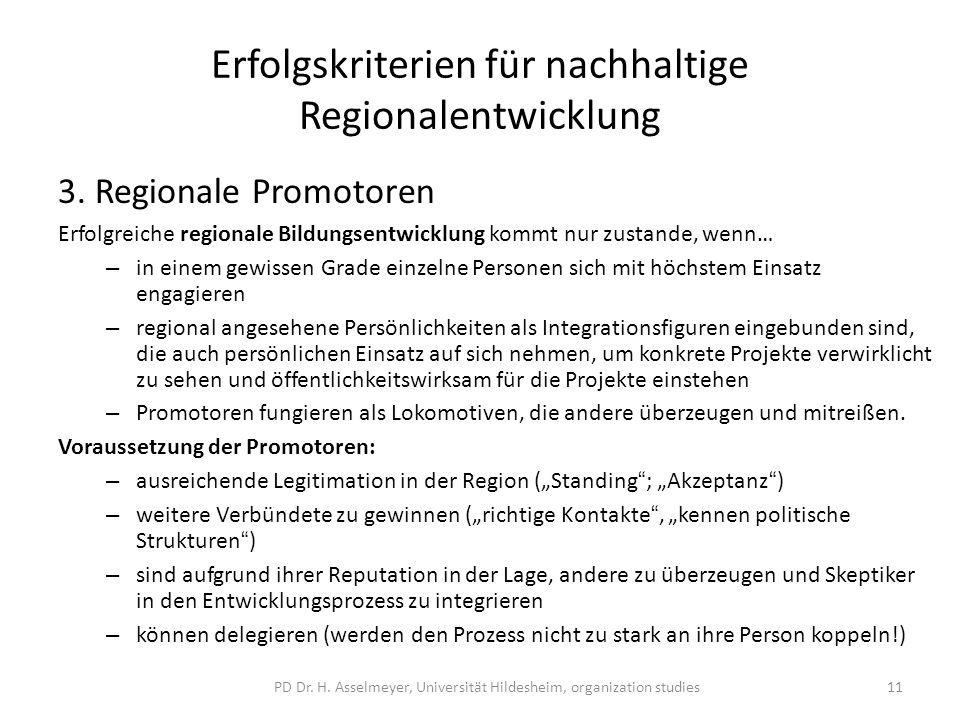 Erfolgskriterien für nachhaltige Regionalentwicklung 3.