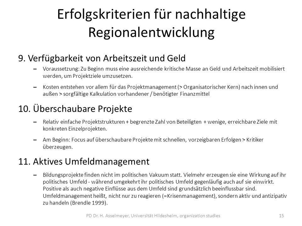 Erfolgskriterien für nachhaltige Regionalentwicklung 9.