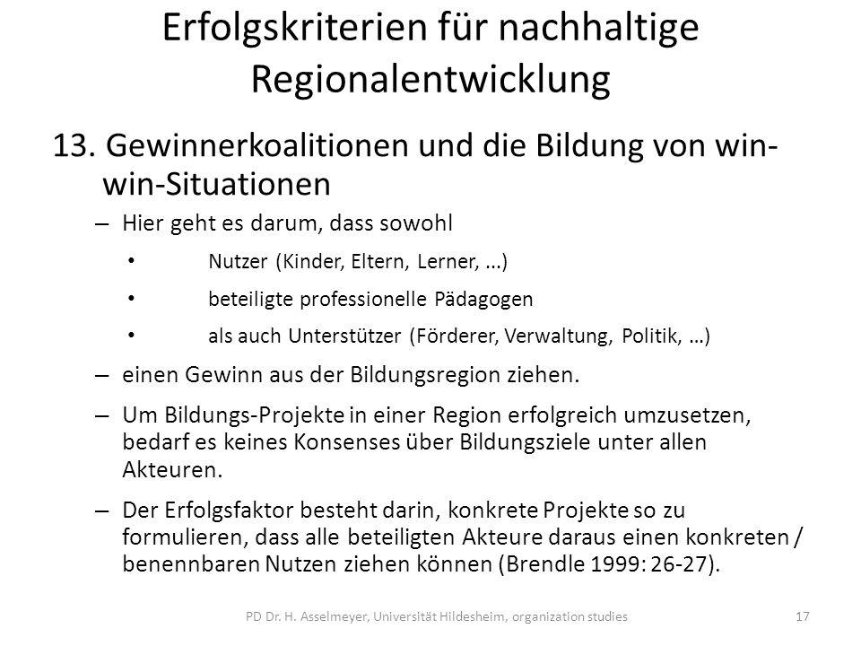 Erfolgskriterien für nachhaltige Regionalentwicklung 13.
