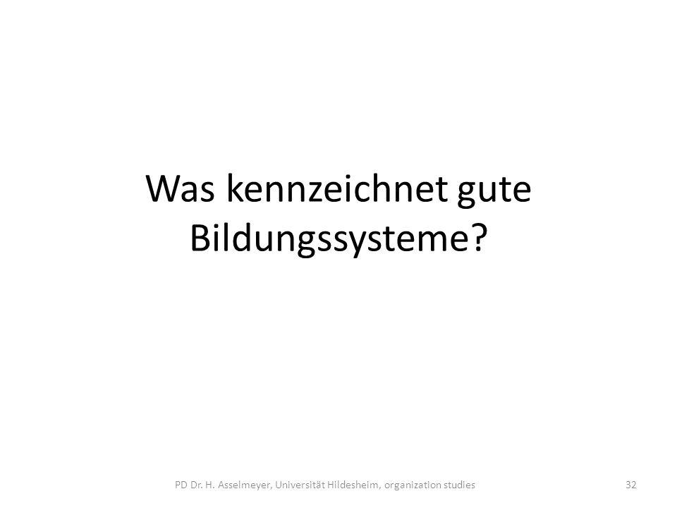 Was kennzeichnet gute Bildungssysteme? PD Dr. H. Asselmeyer, Universität Hildesheim, organization studies32
