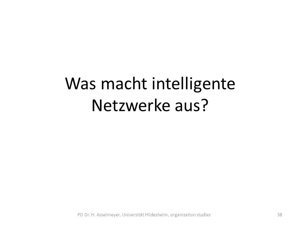 Was macht intelligente Netzwerke aus? PD Dr. H. Asselmeyer, Universität Hildesheim, organization studies38