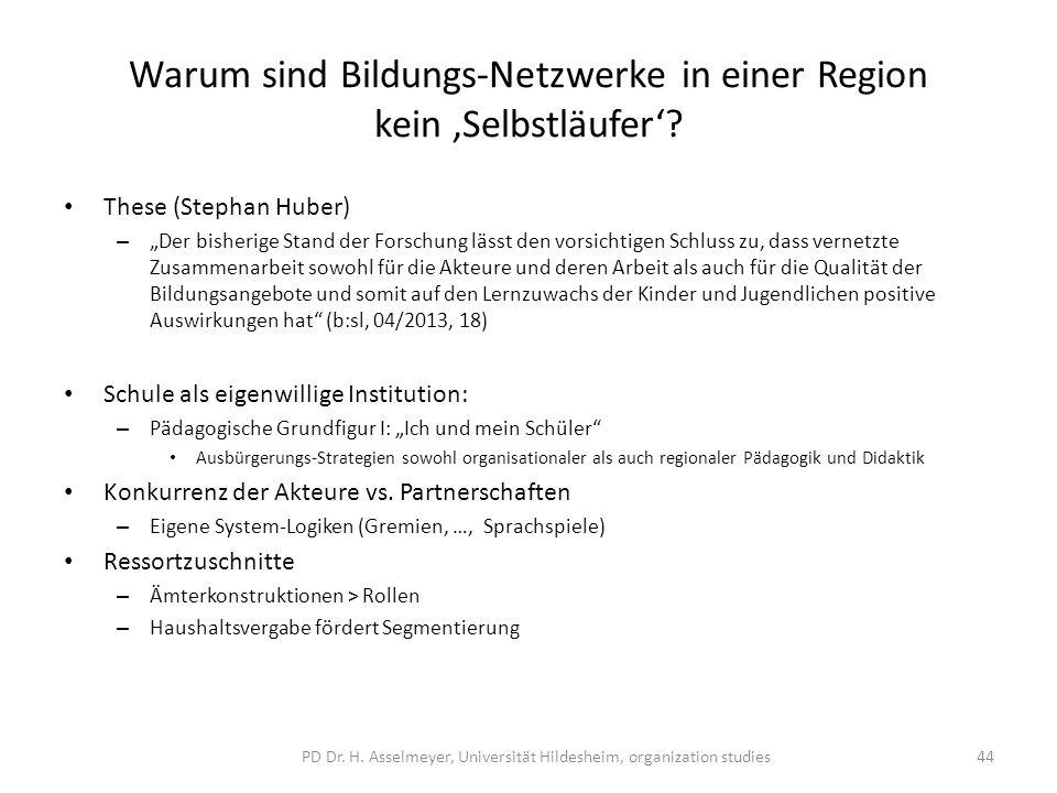 Warum sind Bildungs-Netzwerke in einer Region kein Selbstläufer? These (Stephan Huber) – Der bisherige Stand der Forschung lässt den vorsichtigen Schl