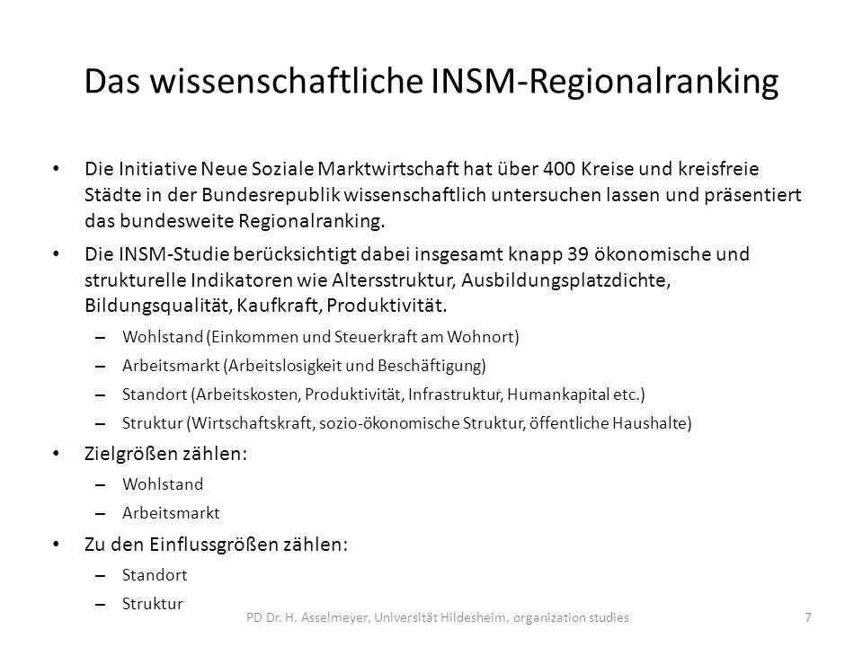 Das wissenschaftliche INSM-Regionalranking Die Initiative Neue Soziale Marktwirtschaft hat über 400 Kreise und kreisfreie Städte in der Bundesrepublik wissenschaftlich untersuchen lassen und präsentiert das bundesweite Regionalranking.