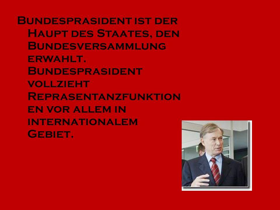 Bundesprasident ist der Haupt des Staates, den Bundesversammlung erwahlt.