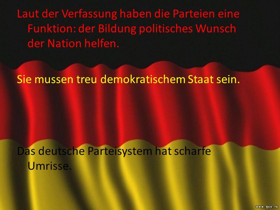 Laut der Verfassung haben die Parteien eine Funktion: der Bildung politisches Wunsch der Nation helfen.