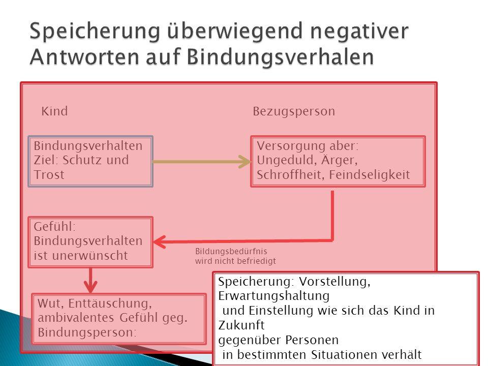 Bindungstheorien Bindungsverhalten Ziel: Schutz und Trost Versorgung aber: Ungeduld, Ärger, Schroffheit, Feindseligkeit Gefühl: Bindungsverhalten ist