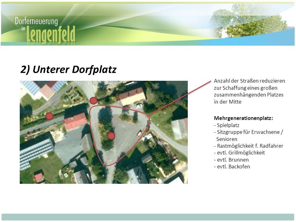 2) Unterer Dorfplatz Anzahl der Straßen reduzieren zur Schaffung eines großen zusammenhängenden Platzes in der Mitte Mehrgenerationenplatz: - Spielplatz - Sitzgruppe für Erwachsene / Senioren - Rastmöglichkeit f.