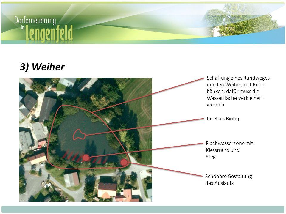 3) Weiher Schaffung eines Rundweges um den Weiher, mit Ruhe- bänken, dafür muss die Wasserfläche verkleinert werden Insel als Biotop Flachwasserzone mit Kiesstrand und Steg Schönere Gestaltung des Auslaufs