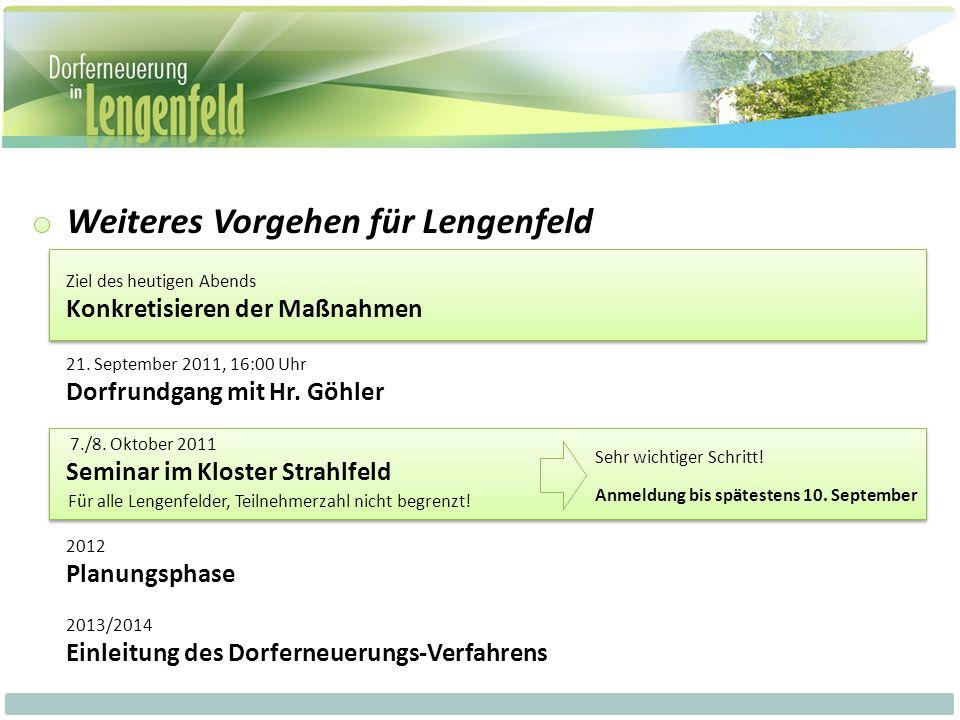 Weiteres Vorgehen für Lengenfeld 7./8.