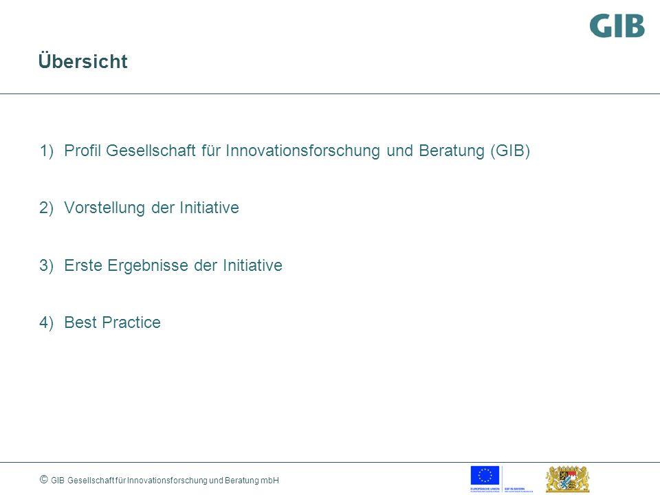 © GIB Gesellschaft für Innovationsforschung und Beratung mbH Gesellschaft für Innovationsforschung und Beratung - Gründung 1990 in Berlin - unabhängiges und neutrales wissenschaftliches Beratungsunternehmen für Entscheidungsträger aus Politik und Wirtschaft - Zielgruppe sind vor allem kleine und mittelständische Unternehmen (KMU)