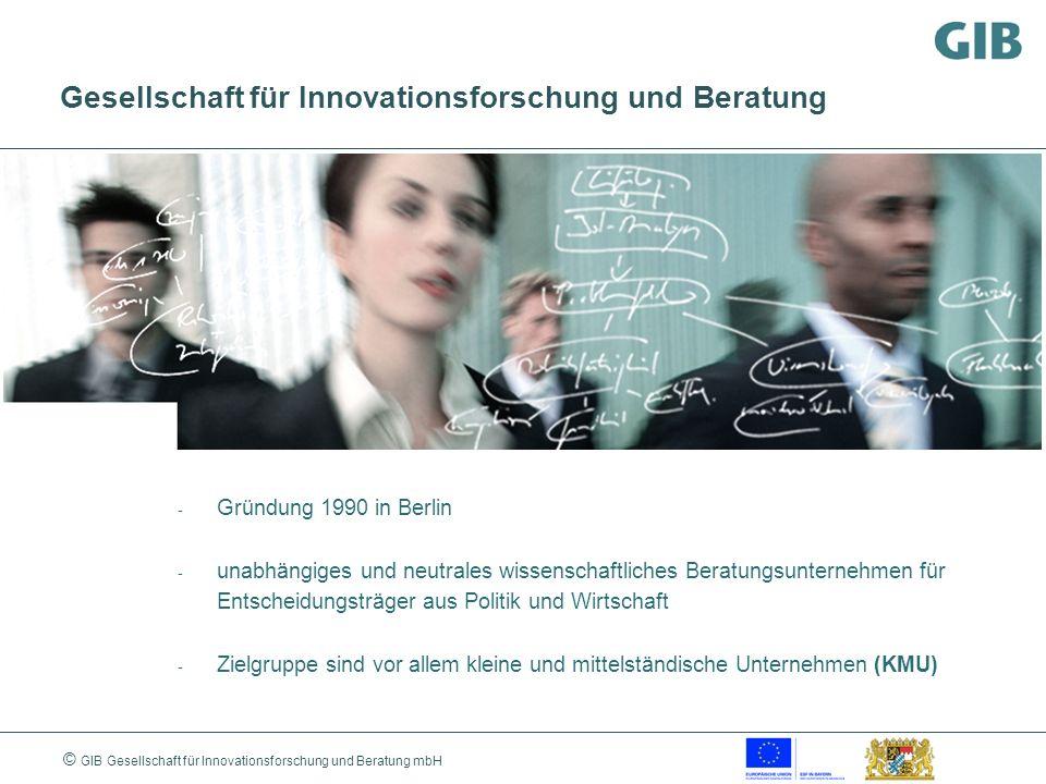 © GIB Gesellschaft für Innovationsforschung und Beratung mbH Gesellschaft für Innovationsforschung und Beratung - Gründung 1990 in Berlin - unabhängig