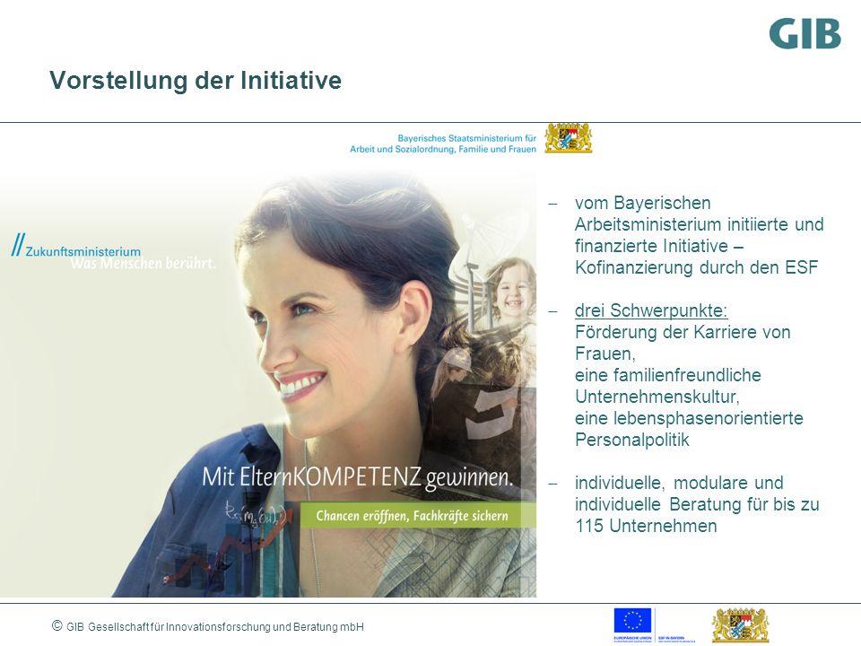 © GIB Gesellschaft für Innovationsforschung und Beratung mbH Vorstellung der Initiative vom Bayerischen Arbeitsministerium initiierte und finanzierte