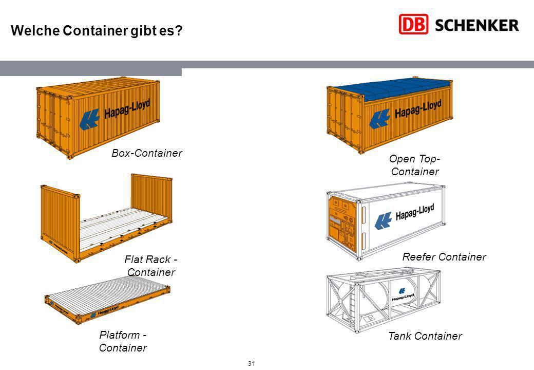 31 Welche Container gibt es? Box-Container Platform - Container Flat Rack - Container Open Top- Container Reefer Container Tank Container