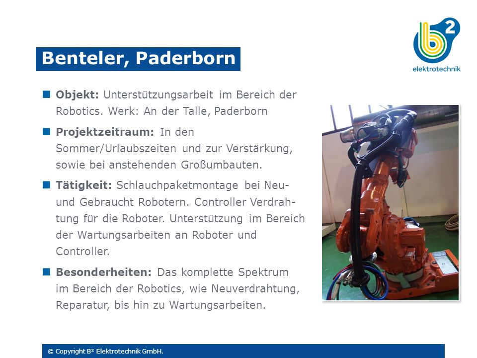 Objekt: Unterstützungsarbeit im Bereich der Robotics.