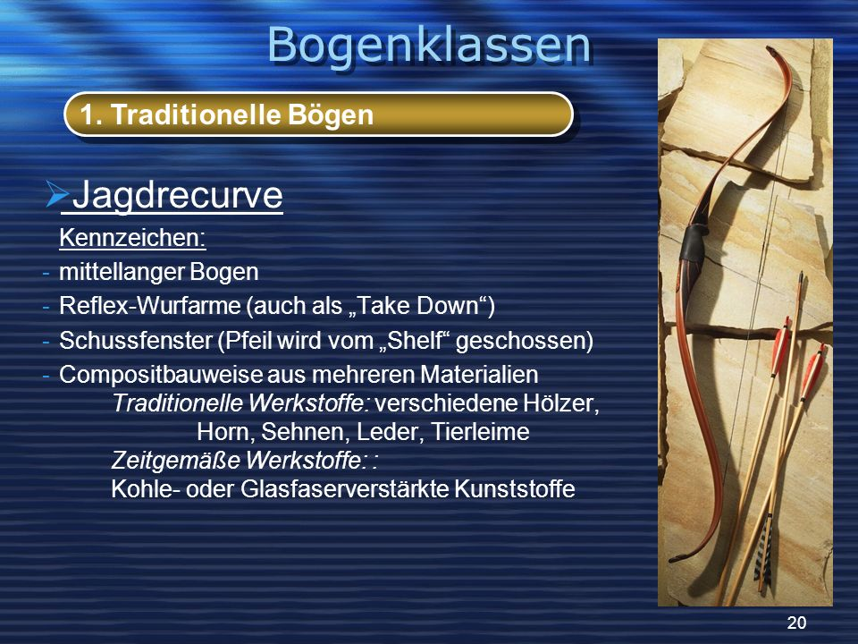 20 Jagdrecurve Kennzeichen: -mittellanger Bogen -Reflex-Wurfarme (auch als Take Down) -Schussfenster (Pfeil wird vom Shelf geschossen) -Compositbauwei
