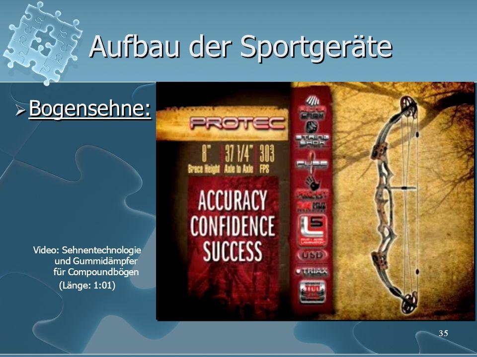 35 Aufbau der Sportgeräte Bogensehne: Video: Sehnentechnologie und Gummidämpfer für Compoundbögen (Länge: 1:01)