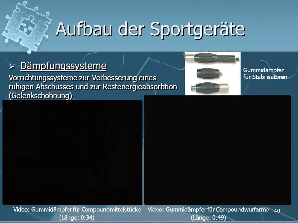 Aufbau der Sportgeräte Dämpfungssysteme Vorrichtungssysteme zur Verbesserung eines ruhigen Abschusses und zur Restenergieabsorbtion (Gelenkschohnung)