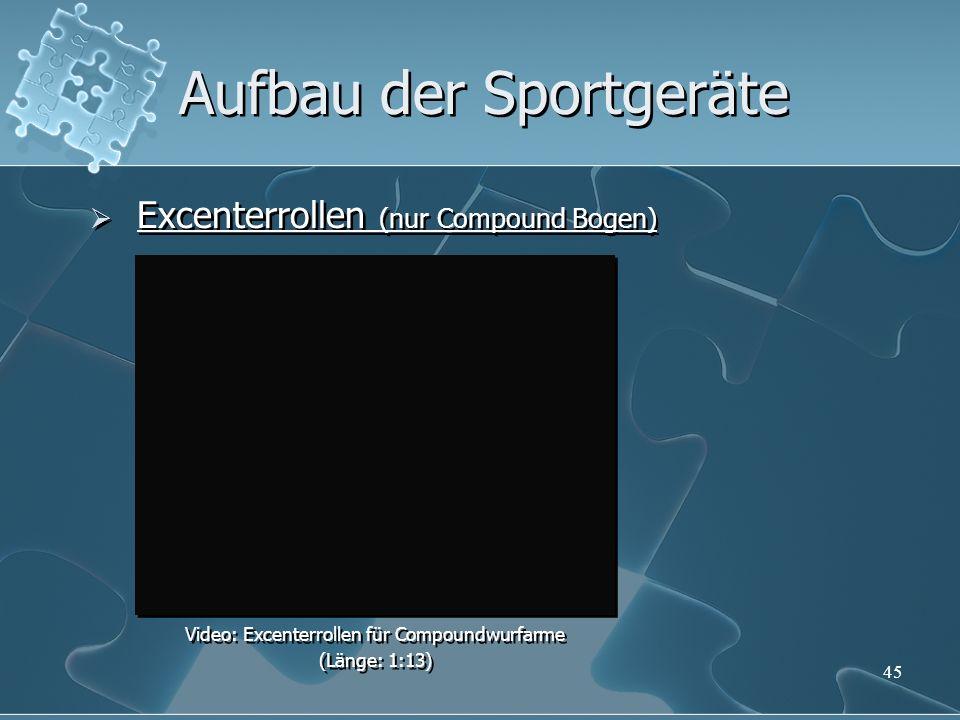 45 Aufbau der Sportgeräte Excenterrollen (nur Compound Bogen) Video: Excenterrollen für Compoundwurfarme (Länge: 1:13) Video: Excenterrollen für Compo