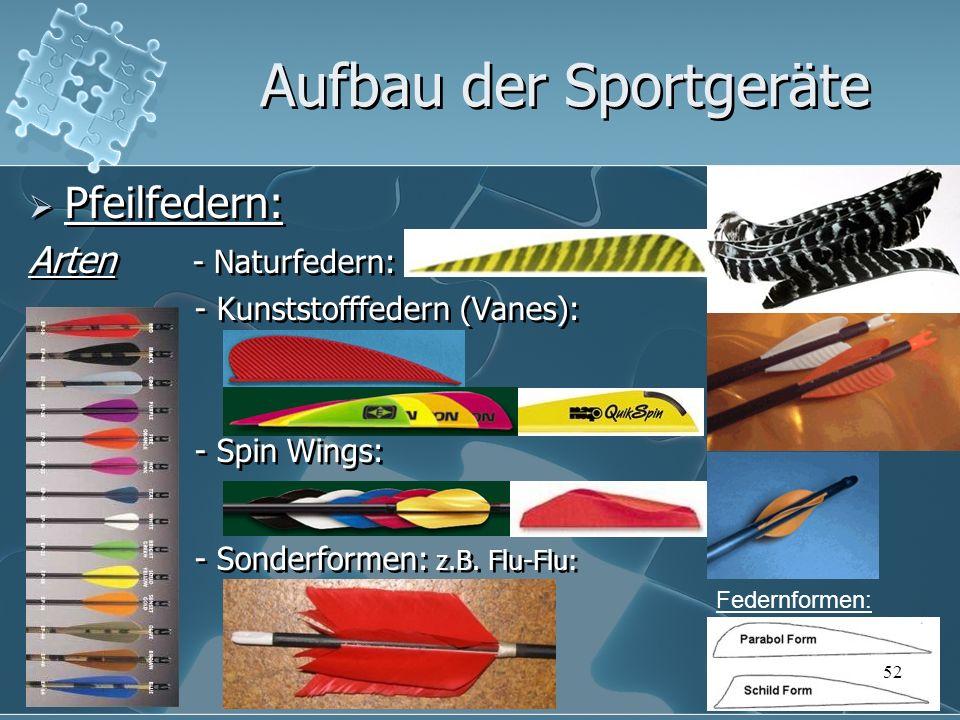 Pfeilfedern: Arten - Naturfedern: - Kunststofffedern (Vanes): - Spin Wings: - Sonderformen: z.B. Flu-Flu: Pfeilfedern: Arten - Naturfedern: - Kunststo
