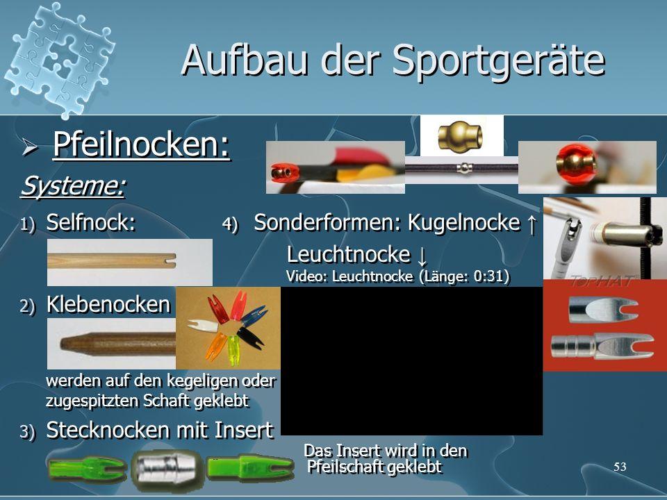 53 Pfeilnocken: Systeme: 1) Selfnock: 4) Sonderformen: Kugelnocke Leuchtnocke Video: Leuchtnocke (Länge: 0:31) 2) Klebenocken werden auf den kegeligen