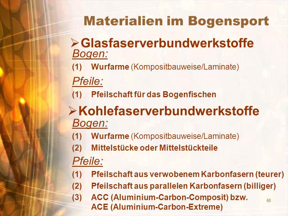 60 Materialien im Bogensport Glasfaserverbundwerkstoffe Bogen: (1)Wurfarme (Kompositbauweise/Laminate) Pfeile: (1)Pfeilschaft für das Bogenfischen Kohlefaserverbundwerkstoffe Bogen: (1)Wurfarme (Kompositbauweise/Laminate) (2)Mittelstücke oder Mittelstückteile Pfeile: (1)Pfeilschaft aus verwobenem Karbonfasern (teurer) (2)Pfeilschaft aus parallelen Karbonfasern (billiger) (3)ACC (Aluminium-Carbon-Composit) bzw.