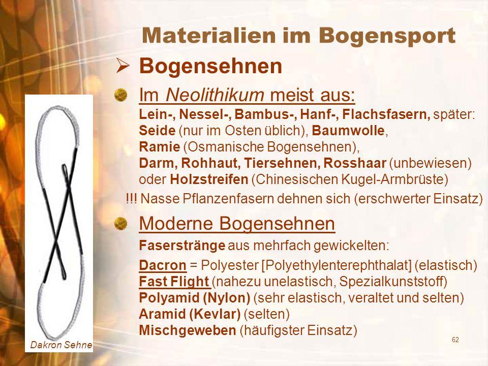 62 Materialien im Bogensport Bogensehnen Im Neolithikum meist aus: Lein-, Nessel-, Bambus-, Hanf-, Flachsfasern, später: Seide (nur im Osten üblich),
