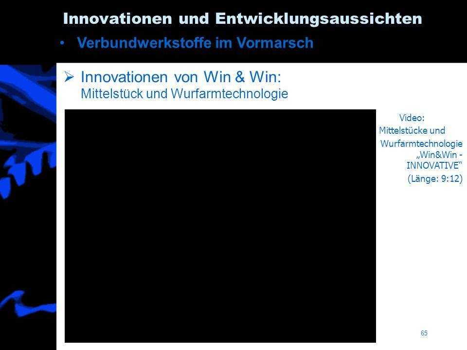 Innovationen von Win & Win: Mittelstück und Wurfarmtechnologie 65 Innovationen und Entwicklungsaussichten Verbundwerkstoffe im Vormarsch Video: Mittelstücke und Wurfarmtechnologie Win&Win - INNOVATIVE (Länge: 9:12)