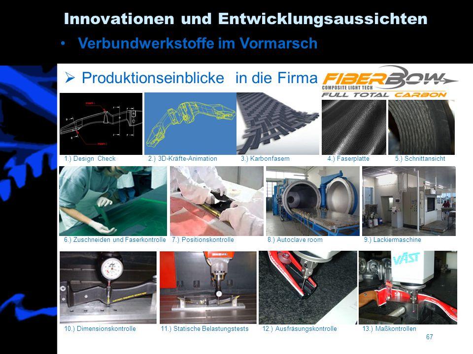 67 Innovationen und Entwicklungsaussichten Produktionseinblicke in die Firma 1.) Design Check 2.) 3D-Kräfte-Animation 3.) Karbonfasern 4.) Faserplatte