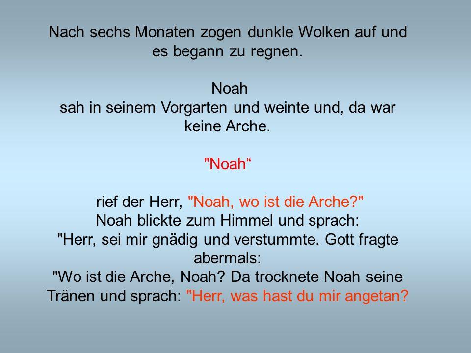 Nach sechs Monaten zogen dunkle Wolken auf und es begann zu regnen. Noah sah in seinem Vorgarten und weinte und, da war keine Arche.