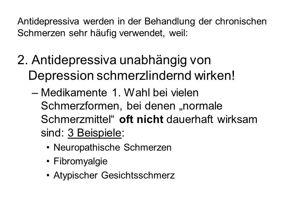 Antidepressiva werden in der Behandlung der chronischen Schmerzen sehr häufig verwendet, weil: 2. Antidepressiva unabhängig von Depression schmerzlind
