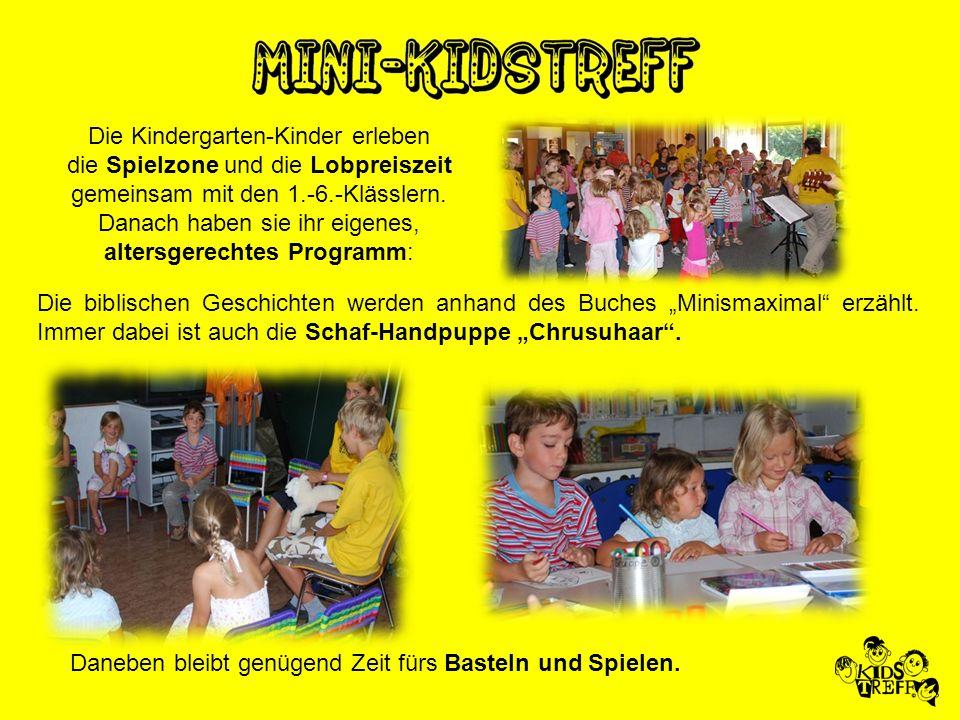 Die Kindergarten-Kinder erleben die Spielzone und die Lobpreiszeit gemeinsam mit den 1.-6.-Klässlern. Danach haben sie ihr eigenes, altersgerechtes Pr