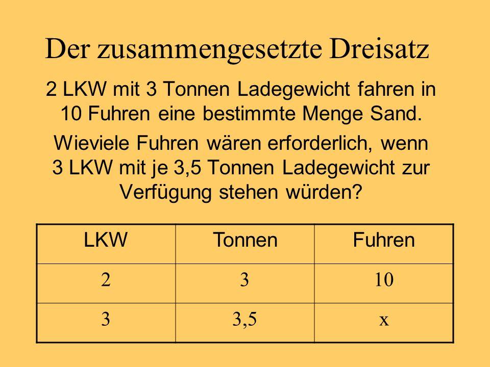 Der zusammengesetzte Dreisatz 2 LKW mit 3 Tonnen Ladegewicht fahren in 10 Fuhren eine bestimmte Menge Sand.
