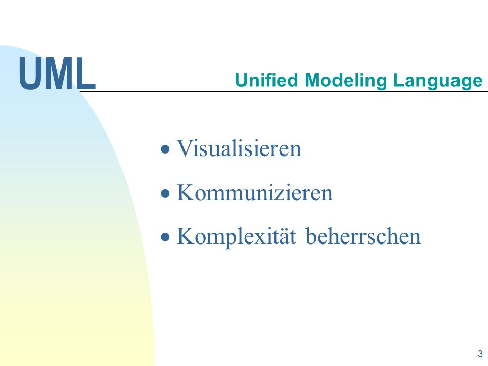 14 Das dynamische Verhalten innerhalb einer Klasse kann in der Form eines state diagram (Zustandsdiagramm) erfasst werden.