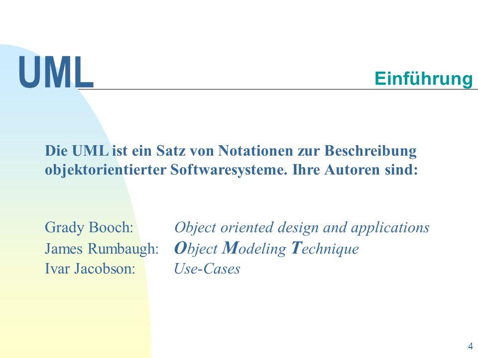 5 Die UML soll nach den Wünschen der Autoren eine Reihe von Aufgaben und Zielen verfolgen, wie zum Beispiel: Bereitstellung einer universellen Beschreibungssprache für alle Arten objektorientierter Softwaresysteme und damit eine Standardisierung, Vereinigung der bekanntesten Beschreibungsnotationen (Methoden) und ein für zukünftige Anforderungen offenes Konzept.