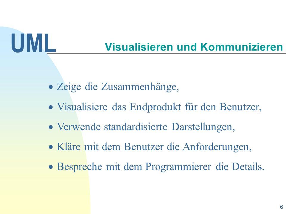 17 Module und andere Softwarekomponenten werden in component diagrams (Komponentendiagrammen) dokumentiert.