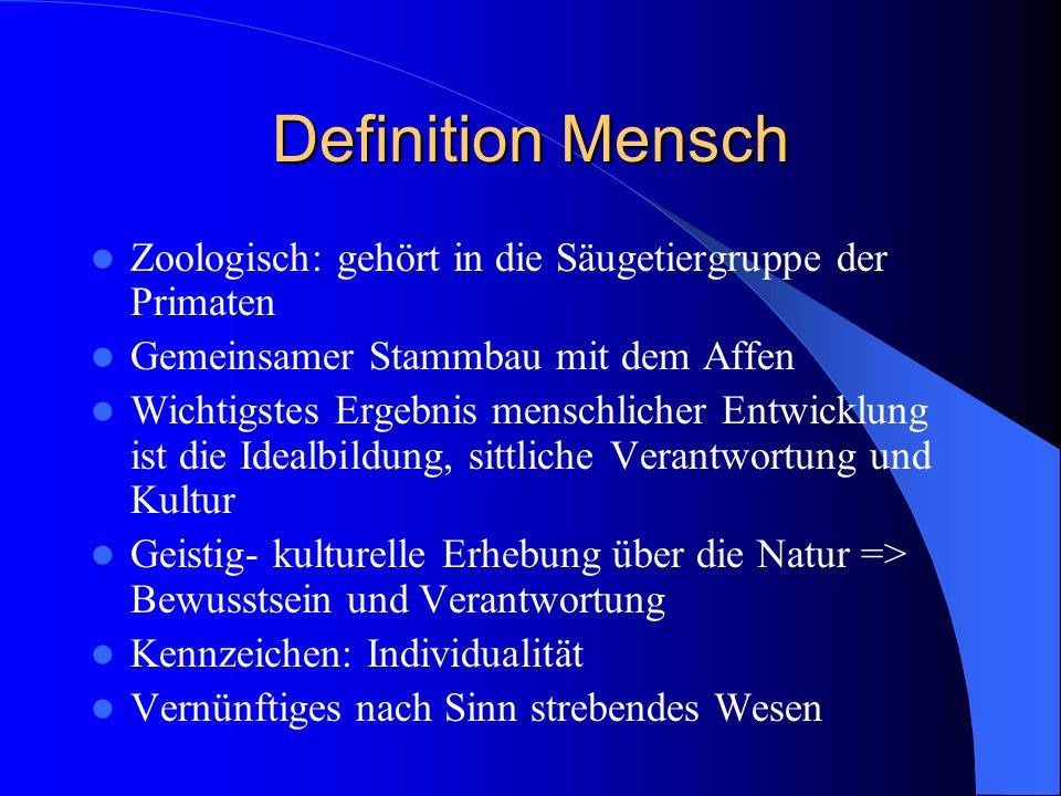 Definition Mensch Zoologisch: gehört in die Säugetiergruppe der Primaten Gemeinsamer Stammbau mit dem Affen Wichtigstes Ergebnis menschlicher Entwickl
