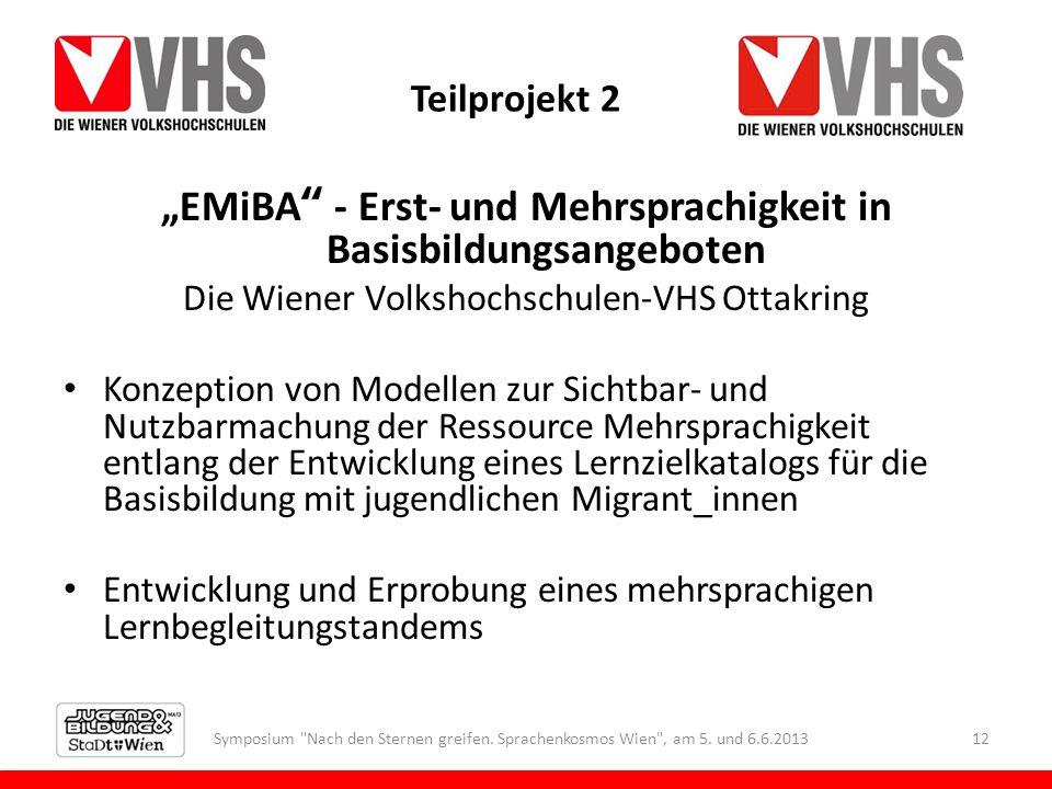 Teilprojekt 2 EMiBA - Erst- und Mehrsprachigkeit in Basisbildungsangeboten Die Wiener Volkshochschulen-VHS Ottakring Konzeption von Modellen zur Sicht