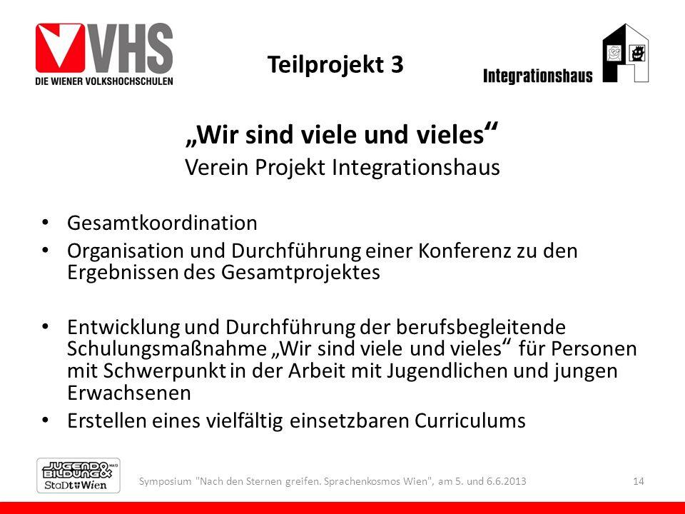 Teilprojekt 3 Wir sind viele und vieles Verein Projekt Integrationshaus Gesamtkoordination Organisation und Durchführung einer Konferenz zu den Ergebn