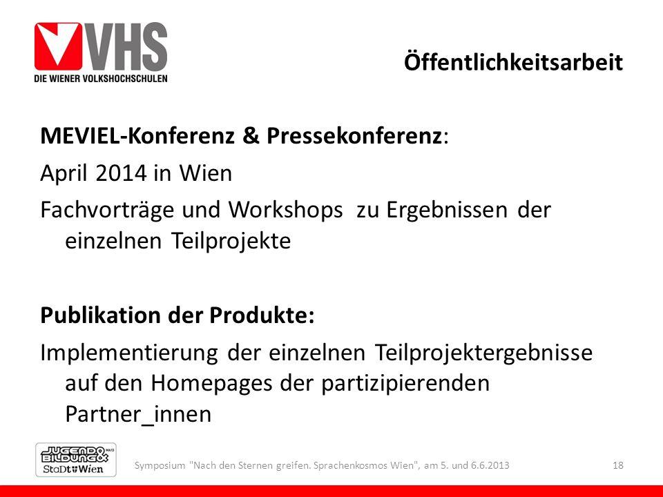 Öffentlichkeitsarbeit MEVIEL-Konferenz & Pressekonferenz: April 2014 in Wien Fachvorträge und Workshops zu Ergebnissen der einzelnen Teilprojekte Publ