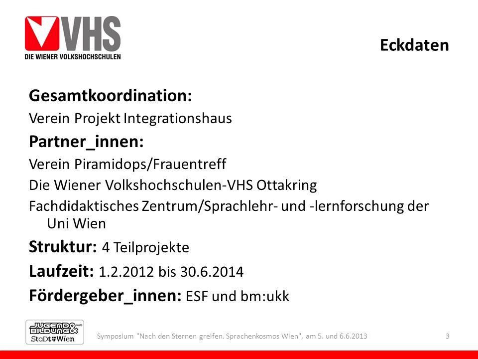 Eckdaten Gesamtkoordination: Verein Projekt Integrationshaus Partner_innen: Verein Piramidops/Frauentreff Die Wiener Volkshochschulen-VHS Ottakring Fa