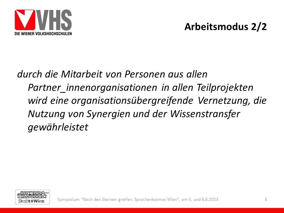 Arbeitsmodus 2/2 durch die Mitarbeit von Personen aus allen Partner_innenorganisationen in allen Teilprojekten wird eine organisationsübergreifende Ve
