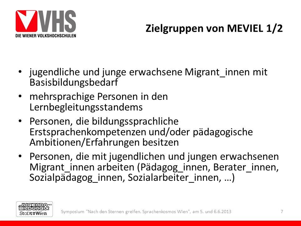 Zielgruppen von MEVIEL 1/2 jugendliche und junge erwachsene Migrant_innen mit Basisbildungsbedarf mehrsprachige Personen in den Lernbegleitungsstandem