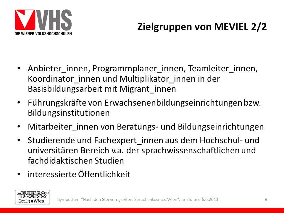 Zielgruppen von MEVIEL 2/2 Anbieter_innen, Programmplaner_innen, Teamleiter_innen, Koordinator_innen und Multiplikator_innen in der Basisbildungsarbei