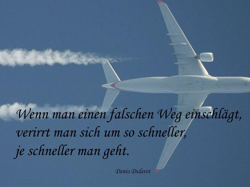 Wenn man einen falschen Weg einschlägt, verirrt man sich um so schneller, je schneller man geht. Denis Diderot