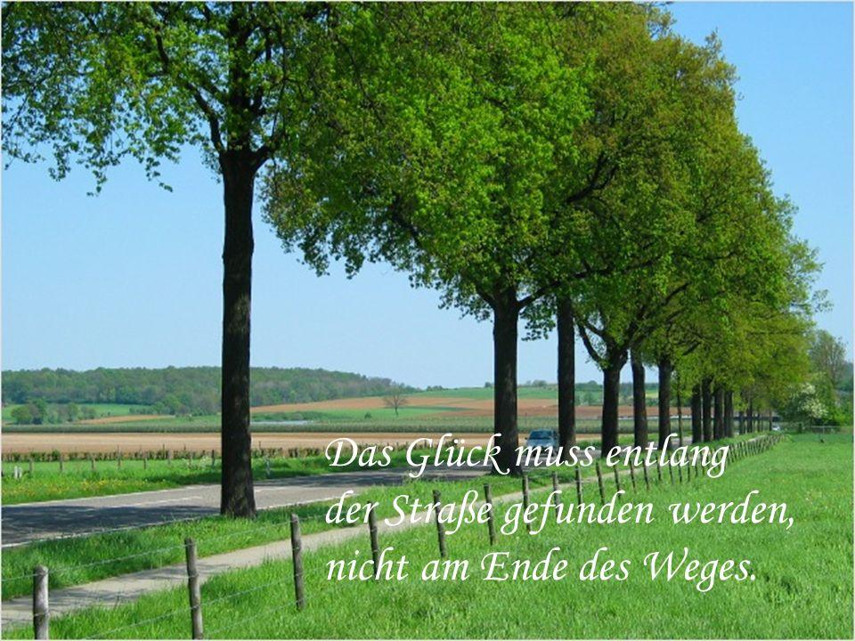 Das Glück muss entlang der Straße gefunden werden, nicht am Ende des Weges.