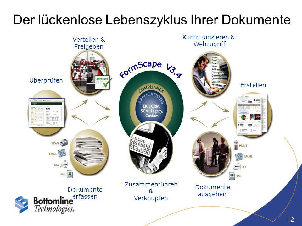 12 Dokumente erfassen Überprüfen Verteilen & Freigeben Zusammenführen & Verknüpfen Dokumente ausgeben Erstellen Kommunizieren & Webzugriff Der lückenl
