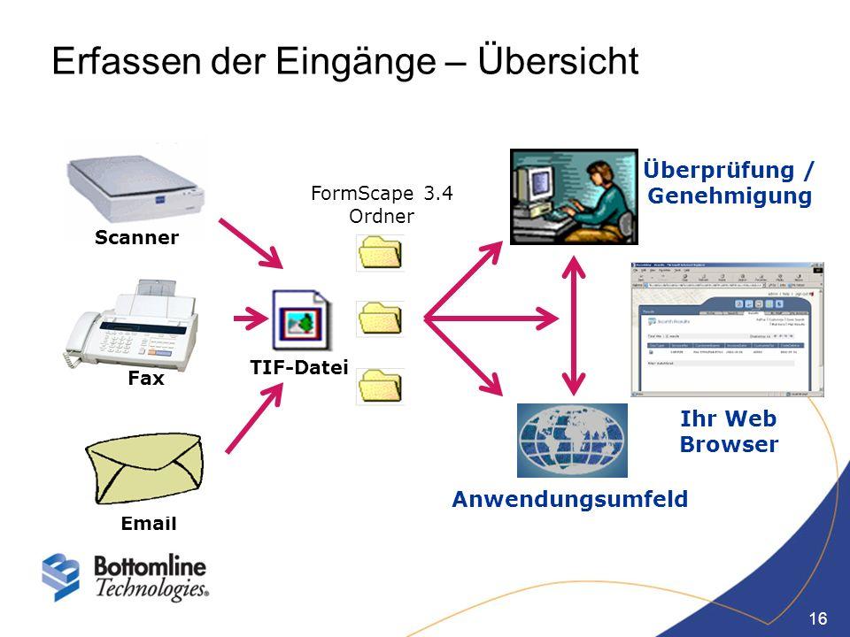 16 Erfassen der Eingänge – Übersicht Fax Email Scanner FormScape 3.4 Ordner Ihr Web Browser Überprüfung / Genehmigung Anwendungsumfeld TIF-Datei